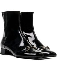 Gucci Leather Horsebit Ankle Boot - Lyst