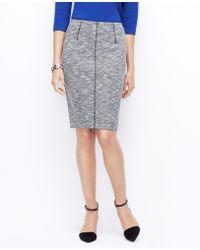 Ann Taylor Curvy Tipped Tweed Pencil Skirt - Lyst