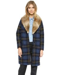 Band Of Outsiders Windowpane Coat with Fur Collar - Lyst