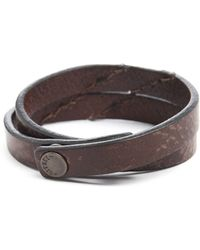 Diesel Agefty Brown Leather Bracelet - Lyst