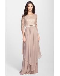 Eliza J Embellished Lace & Chiffon Gown - Lyst