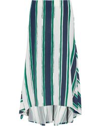 Chloé Asymmetric Striped Silk Midi Skirt - Lyst