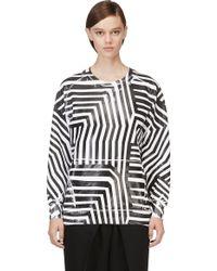 Pierre Balmain Black and White Rubberized Stripe Print Sweatshirt - Lyst