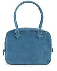 Hermès Pre-Owned Blue Jean Suede Plume Bag - Lyst