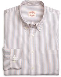 Brooks Brothers Orange with Blue Alternating Stripe Sport Shirt - Lyst