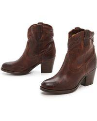 Frye Tabitha Pull On Short Boots  Dark Brown - Lyst
