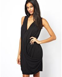 Asos Shift Dress in Crepe with Drape - Lyst