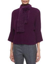 ESCADA - Crochet Cardigan W/Removable Fur Scarf - Lyst