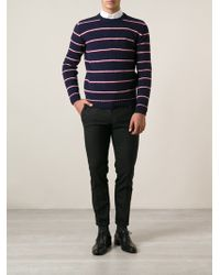 Saint Laurent Blue Striped Jumper - Lyst