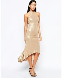 Quontum - Halterneck Fishtail Dress In Metallic With Control Lining - Lyst