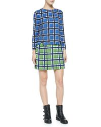 Marc By Marc Jacobs Toto Longsleeve Twotone Plaid Crepe Dress - Lyst
