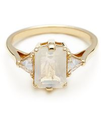 Anna Sheffield Bea Three Stone Ring - Moonstone - Lyst