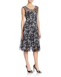 Vera Wang Embroidered Floral Fit And Flare black - Lyst