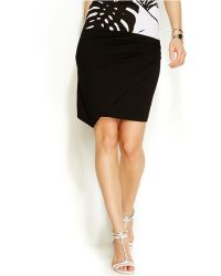 Vince Camuto Faux-wrap Knit Skirt - Black