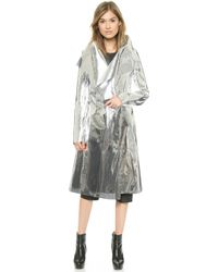 Gareth Pugh Mirrored Coat - Silver - Lyst