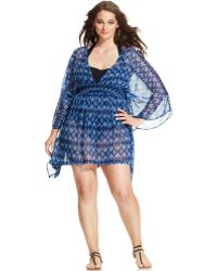 Jessica Simpson Plus Size Open-Back Printed Cover Up - Lyst
