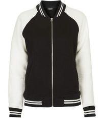 Topshop Womens Striped Rib Jersey Bomber Jacket  Black - Lyst
