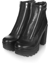 Topshop Harley Double Zip Ankle Boots - Lyst