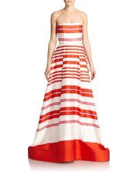 Alice + Olivia Aubrey Strapless Stripe Gown - Lyst