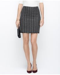 Ann Taylor Curvy Fit Tweed Fringe Pencil Skirt - Lyst