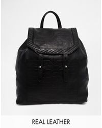 Asos Leather Backpack with Croc Embossed Detail - Lyst