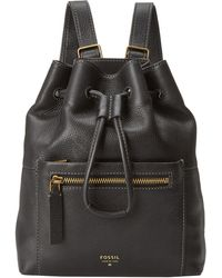 Fossil Vickery Drawstring Backpack in Black | Lyst