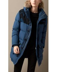 Burberry Geometric Detail Puffer Coat with Fur Trim - Lyst