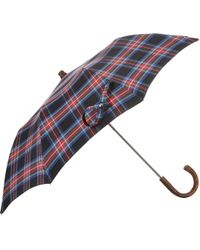 Barneys New York Tartan Compact Umbrella - Lyst