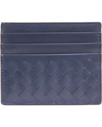 Bottega Veneta Intrecciato Flat Card Case blue - Lyst