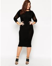 Asos Curve Body-Conscious Dress With Mesh - Lyst
