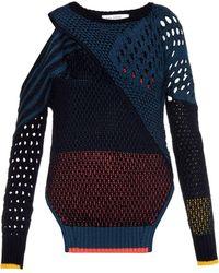 Prabal Gurung Cut-Out Contrast Mesh-Knit Sweater - Lyst