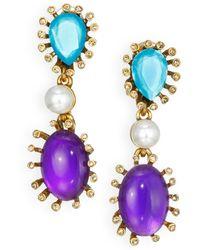 Oscar de la Renta Starburst Cabochon, Faux Pearl & Pear-Cut Drop Earrings - Lyst