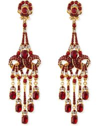 Jose & Maria Barrera Gold-Plated Red Crystal Chandelier Clip-On Earrings - Lyst