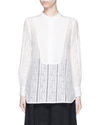 Erdem | 'tabitha' Crepe Bib Panel Floral Lace Shirt | Lyst