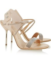 Pedro Garcia Monique Crystal Embellished Satin and Leather Sandals - Lyst
