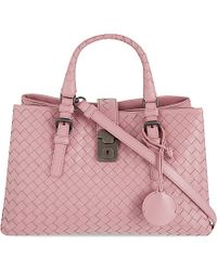 Bottega Veneta Roma Intrecciato Leather Cross-Body Bag - For Women pink - Lyst