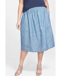 Eileen Fisher Hemp & Cotton Chambray Midi Skirt - Lyst