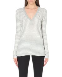 Enza Costa V-neck Striped Cotton and Cashmere-blend Top - Lyst