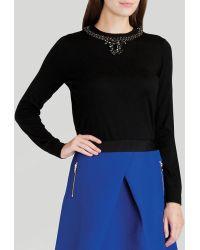 Ted Baker Sweater - Halie Embellished Neck - Lyst