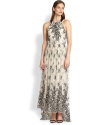Alice + Olivia Isla Leather-Trimmed Floral Lace Maxi Dress - Lyst