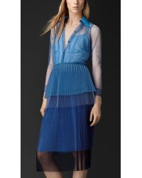 Burberry Pleated Tulle Shirt Dress - Lyst