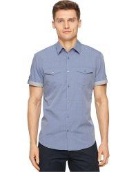 Calvin Klein Marquis End-On-End Dobby Slim-Fit Shirt blue - Lyst