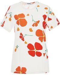 Rodarte | White Poppy Printed T Shirt | Lyst