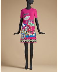 Dolce & Gabbana | Dress In Wool With Appliques | Lyst