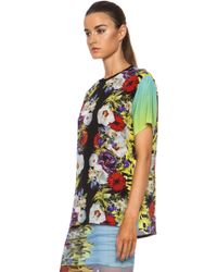 Versace Floral Silk Tee with Contrast Sleeves - Lyst