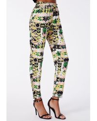 Missguided Arian Aztec Tapered Trousers - Lyst