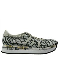 Premiata Sneakers Shoes Conny 4 Cm Wedge Linen Printto - Lyst