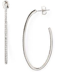 Nadri Pave J Hoop Earrings - Lyst
