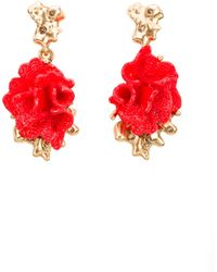 Oscar de la Renta Red Coral-Motif Clip-On Earrings - Lyst