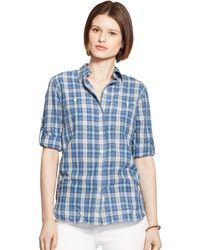 Ralph Lauren Plaid Cotton Shirt blue - Lyst